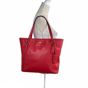 Coach Peyton Red Saffiano Leather Zip Tote Bag